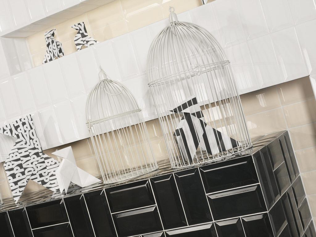 10x20cm Blanco Negro Biselado gloss
