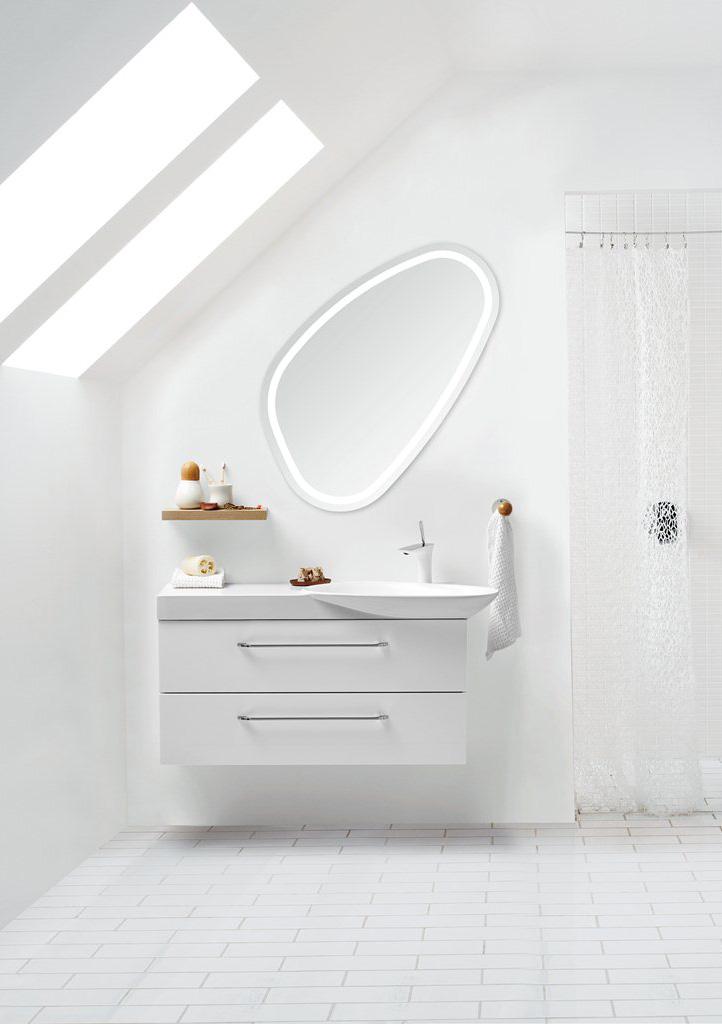 59x100cm mirror with intergrated lighting. Dansani