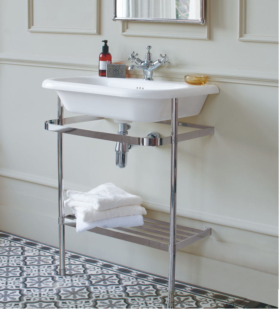 Roll top basin with stand.Burlington