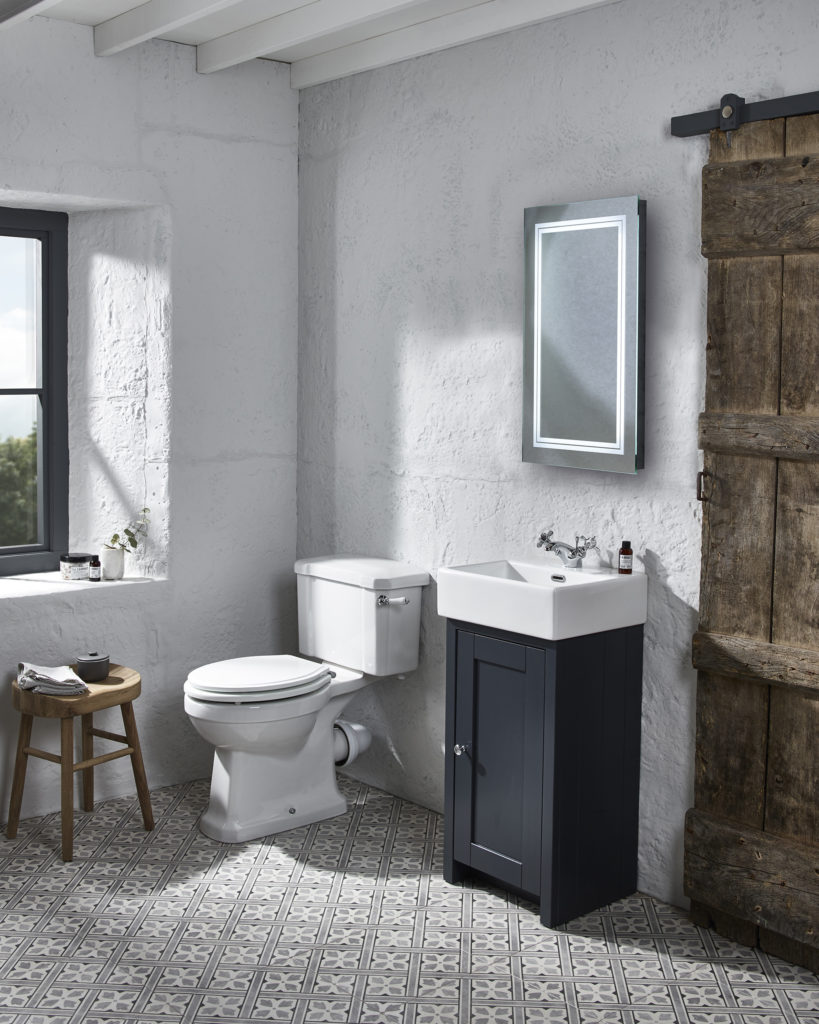 lansdown cloakroom unit dark grey matt transmit mirror