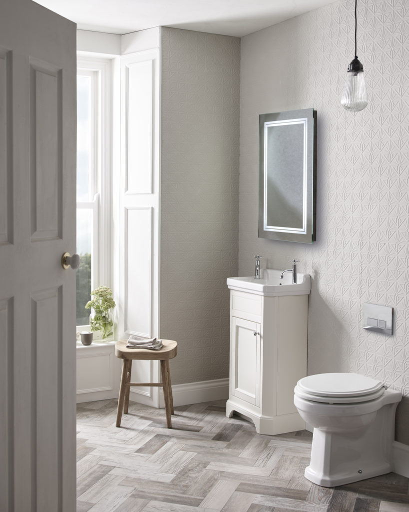 Vitoria cloakroom freestanding unit linen white lifestyle
