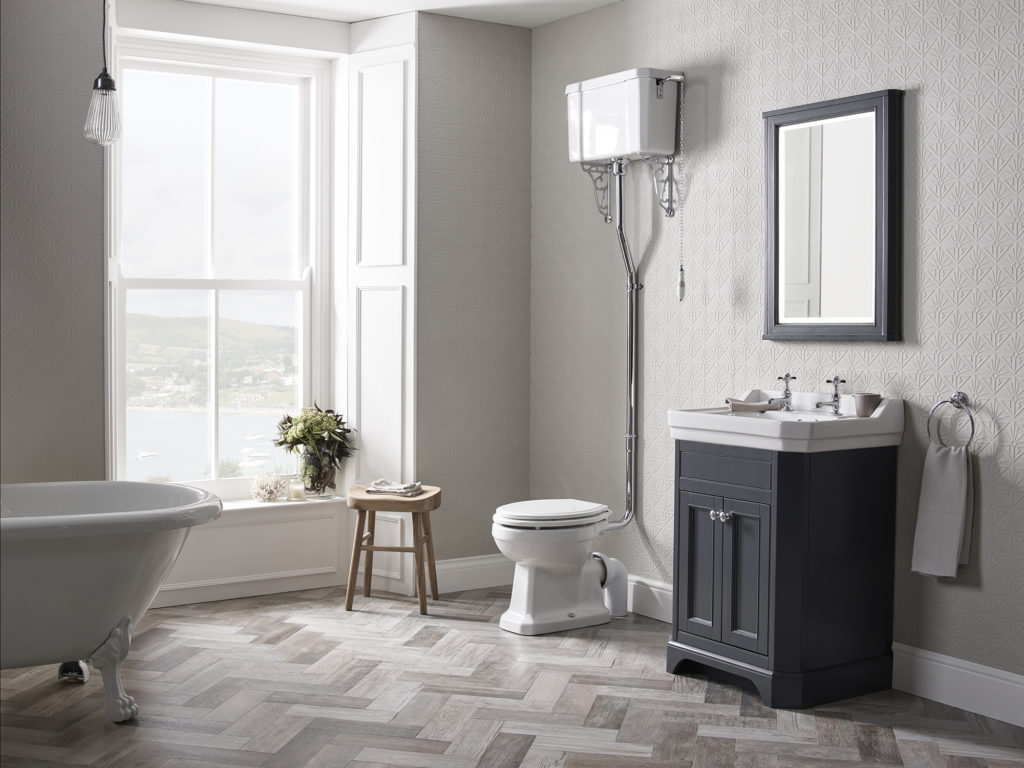 Vitoria 600 free standing Unit Dark Grey Matt lifestyle With Varsity Taps