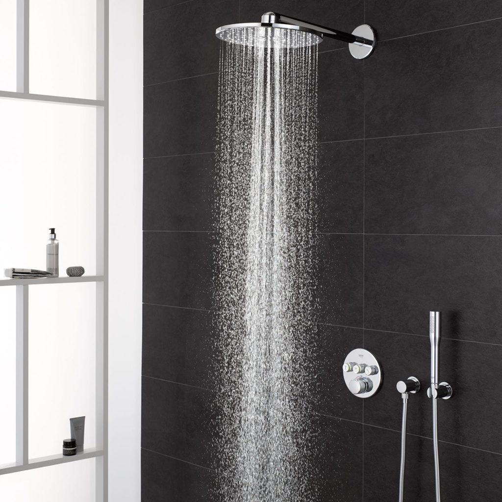 Wall-mounted shower set / contemporary / with hand shower / rain