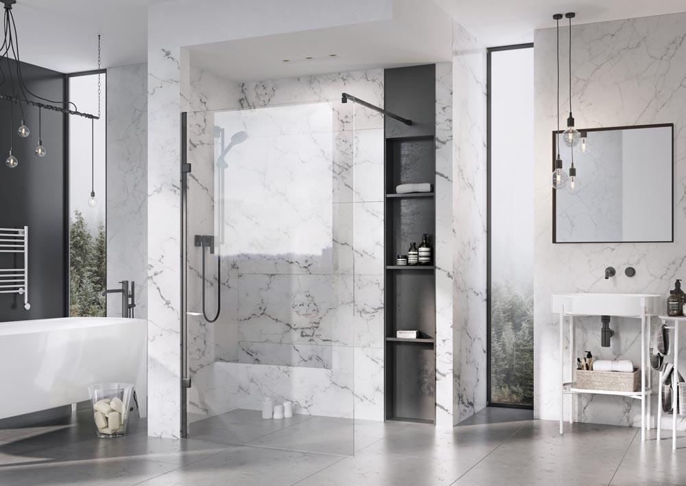 Liberty Matt Black Wetroom Panels with clear glass