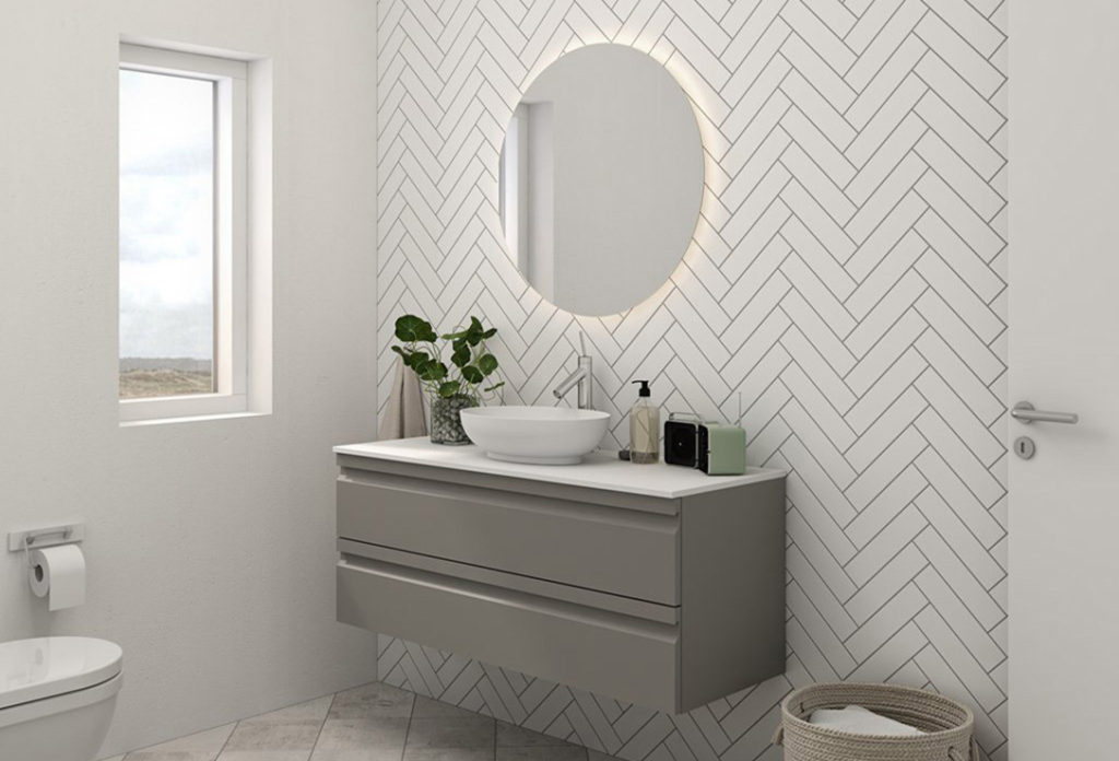 Zaro sonate solid surface on grey rubber.