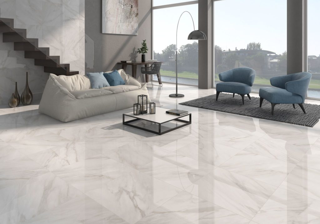 CALACATTA RECTIFIED GLOSSY PORCELAIN 120x60cm